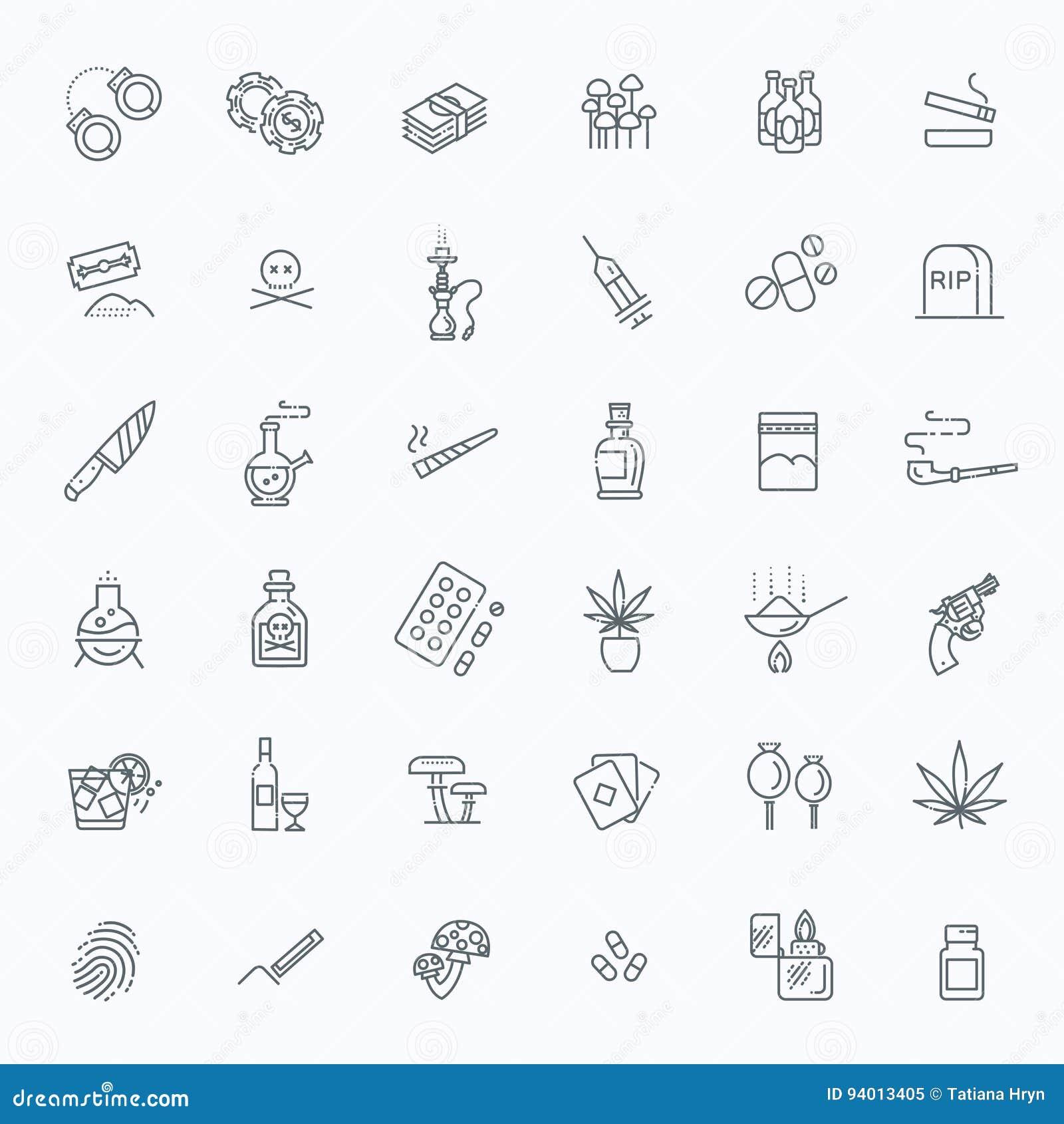 Sistema simple de la línea relacionada iconos del vector de las drogas
