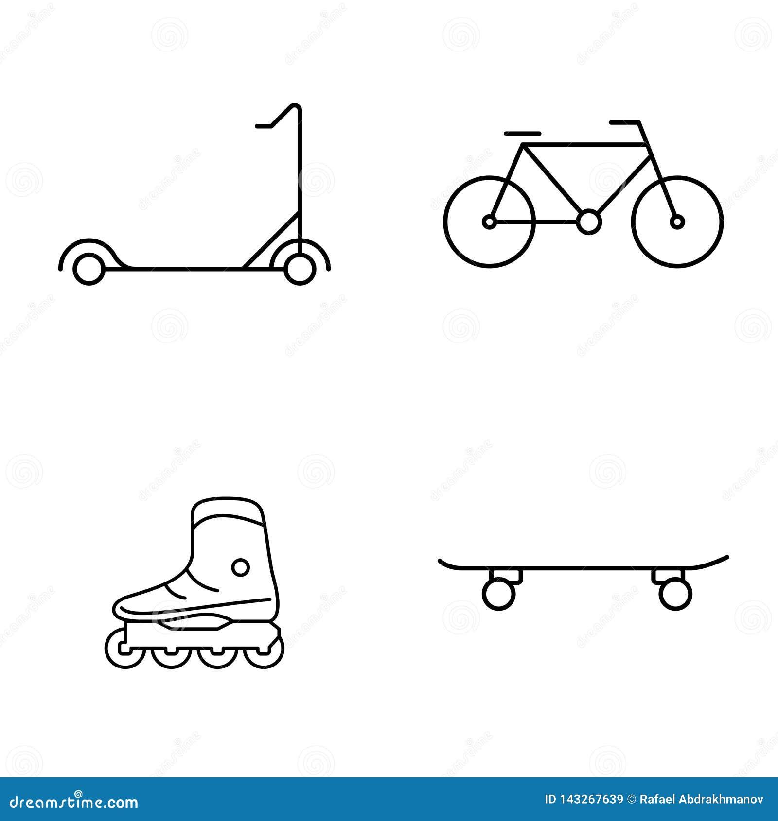 Sistema simple de la l?nea fina iconos del vector p?blico Pcteres de ruedas de la bici de la vespa y monopatín