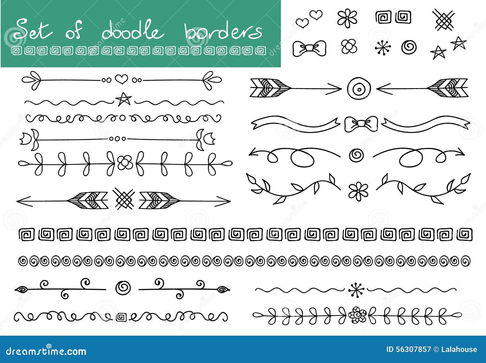 Sistema simple del garabato Fronteras y elementos de la decoración