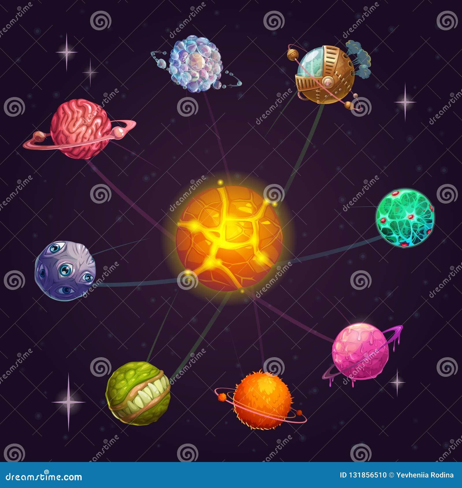 Sistema solar estrangeiro da fantasia com estrela e os planetas incomuns Ilustração do espaço de vetor