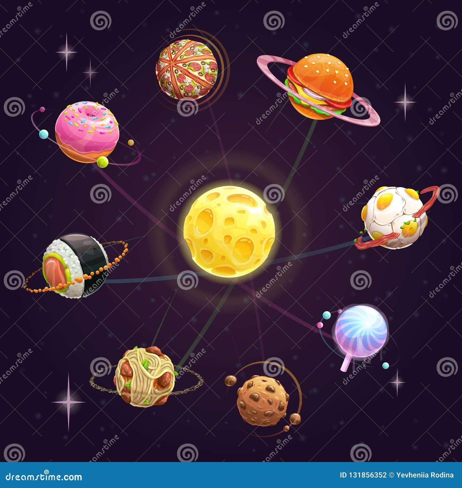 Sistema solar saboroso criativo dos desenhos animados engraçados Grupo dos planetas do fast food