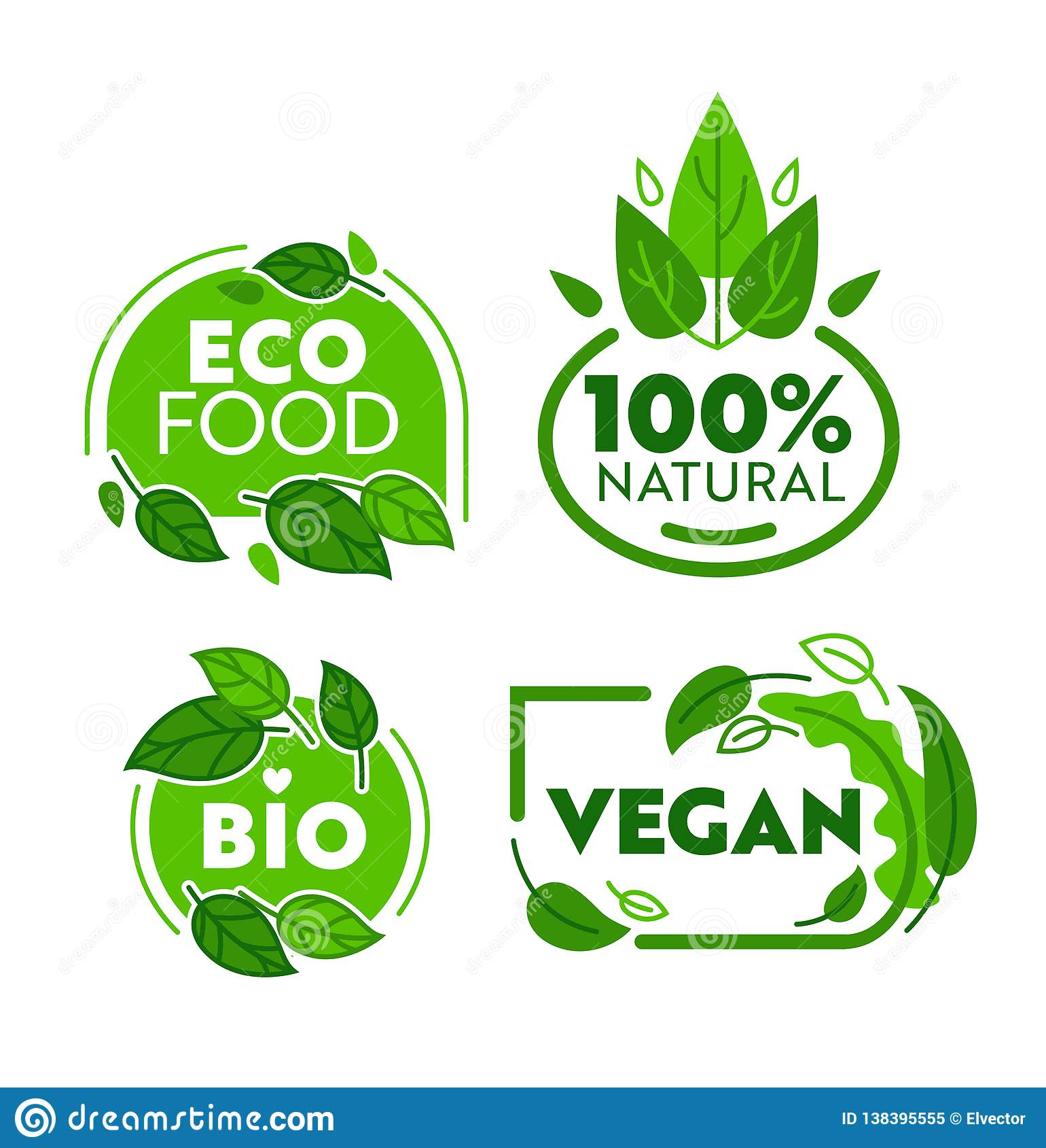 Sistema vegetariano verde de la etiqueta engomada del alimento biológico de Eco Bio colección de la insignia de la tienda del veg