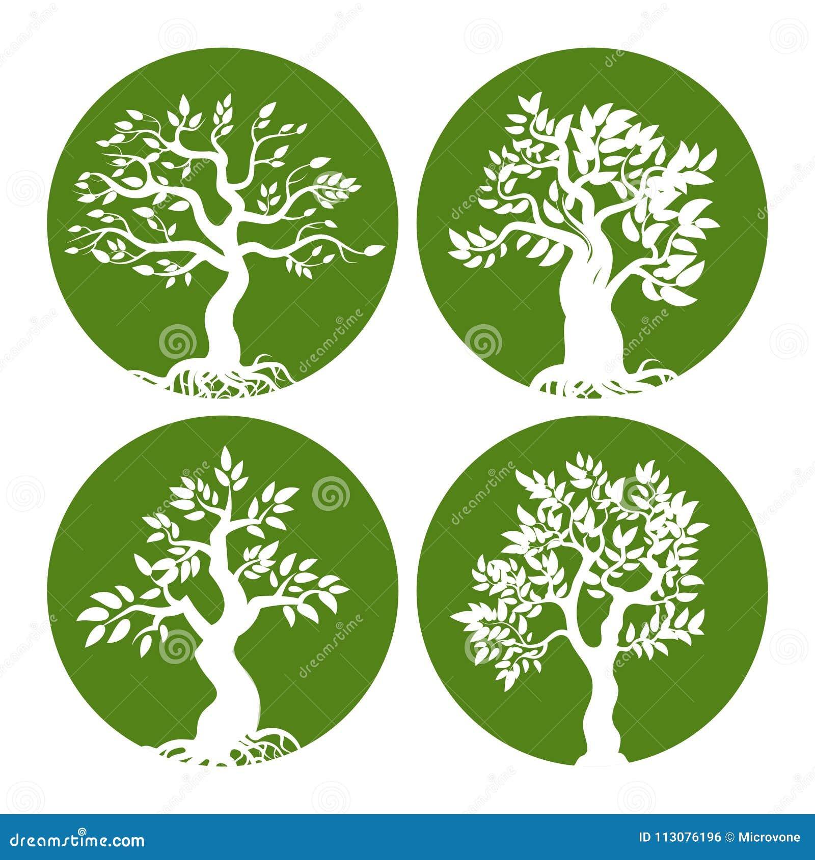 Sistema verde del icono de la silueta del árbol