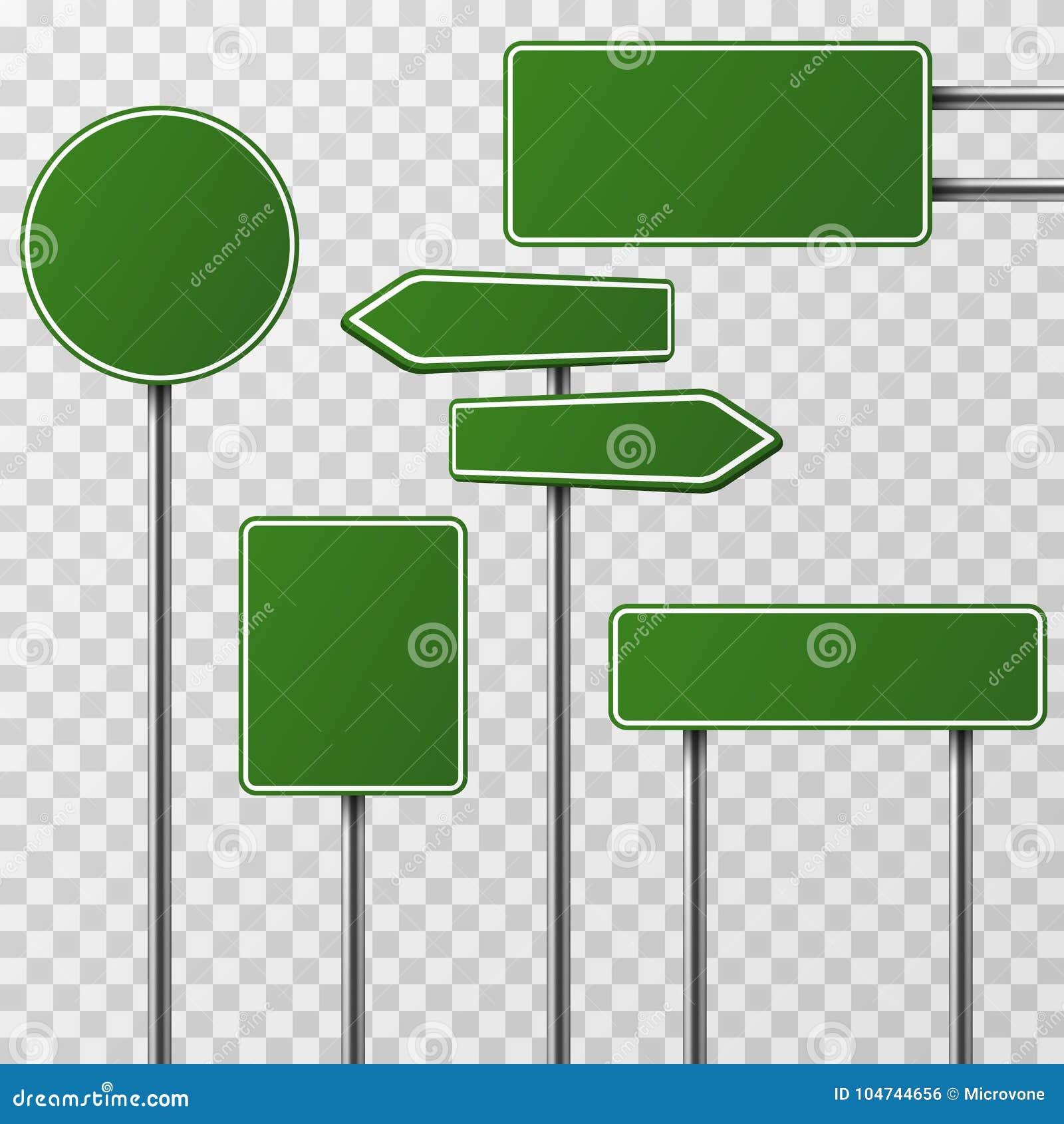 Sistema verde en blanco realista del vector de la calle y de las señales de tráfico