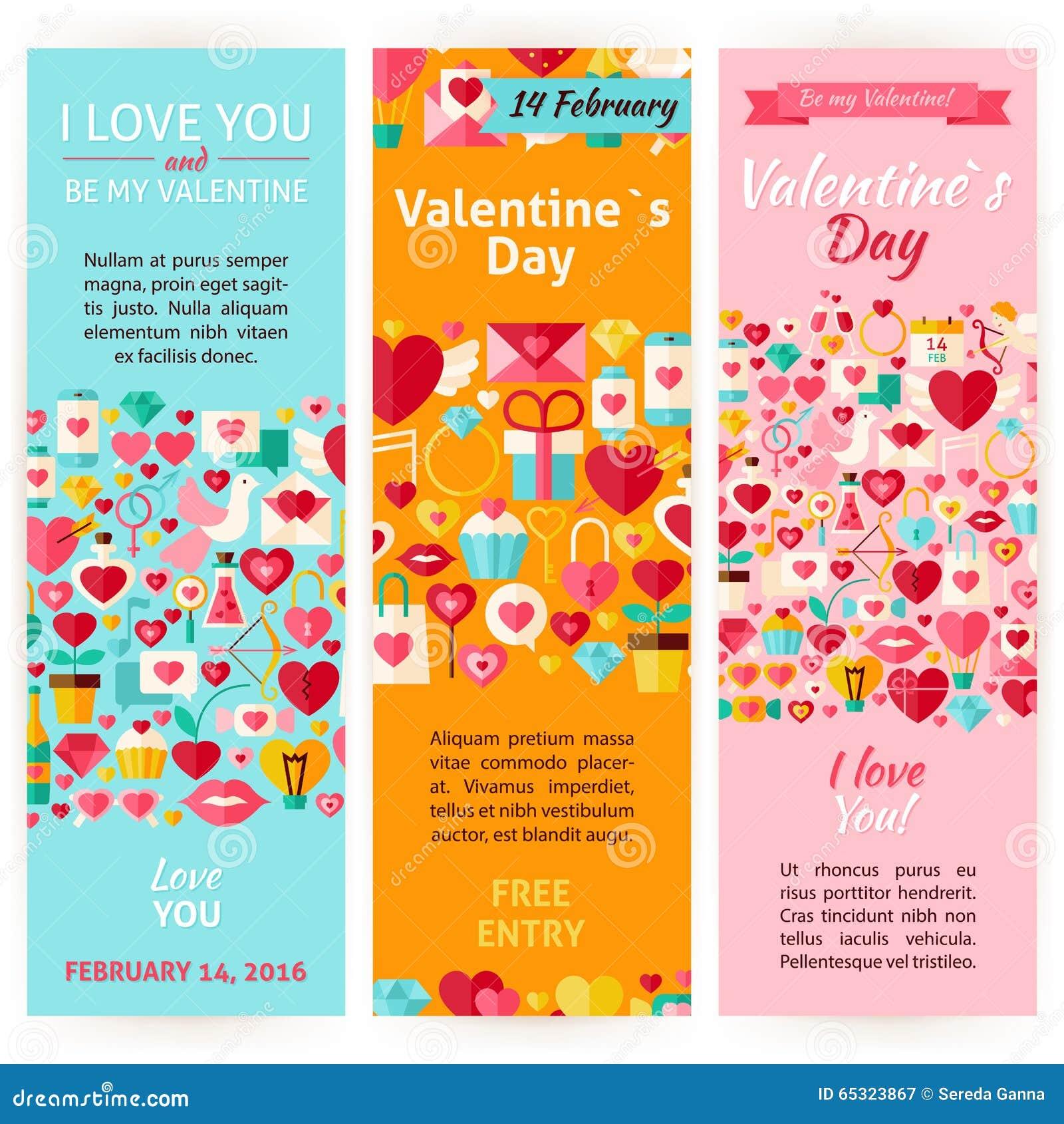 Sistema vertical del aviador de Valentine Day Holiday Vector Invitation