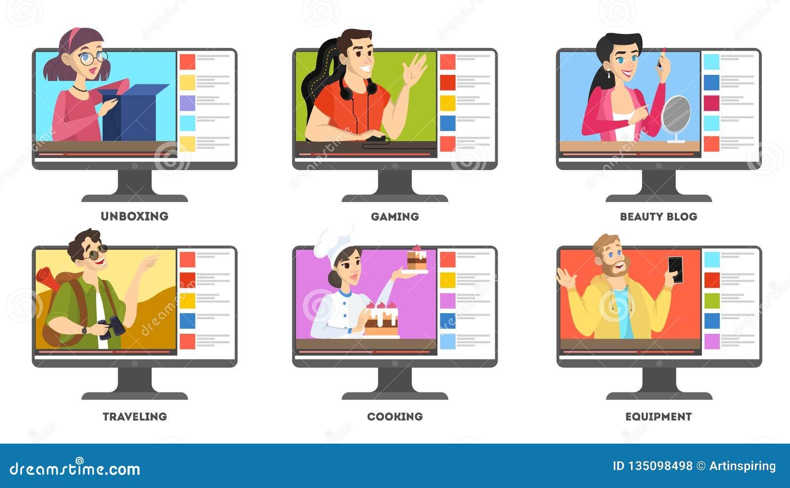 Sistema video del blogger Celebridad de Internet en red social