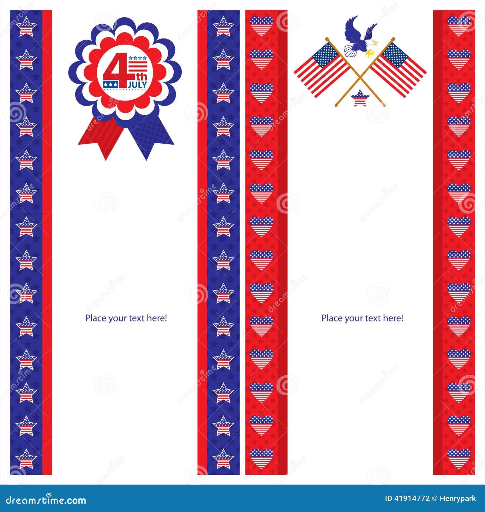 Sistemas de tarjeta americanos de la plantilla del Día de la Independencia