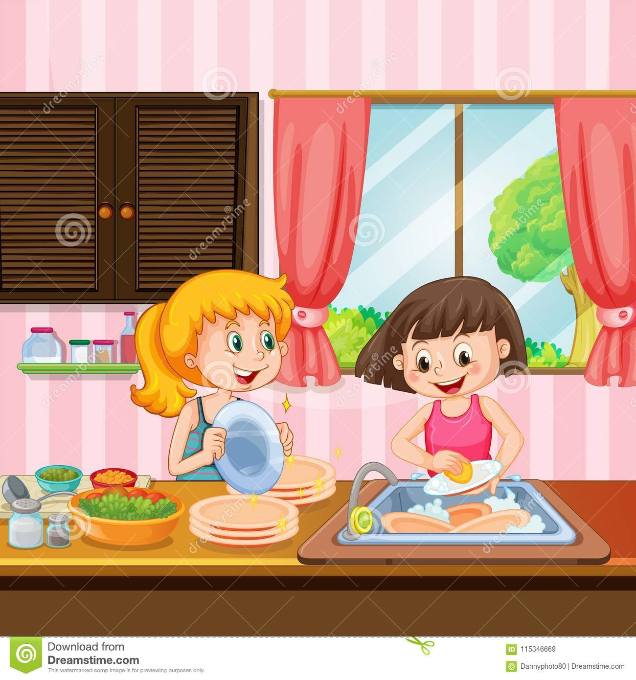 Cleaning My Kitchen: Sister Cleaning Dishes In Kitchen Stock Vector