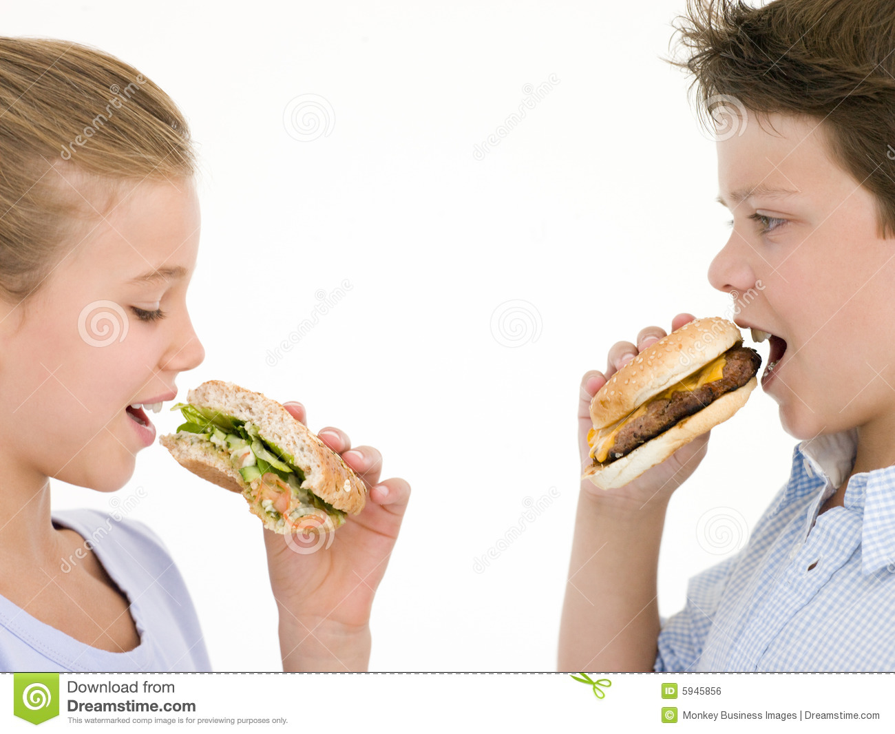 Sister Eating Apple By Brother Eating Cheeseburger Royalty Free Stock ...