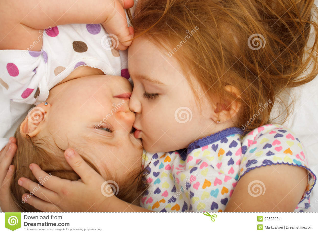 Sister Kissing Baby Stock Photo Image Of Care Beautiful