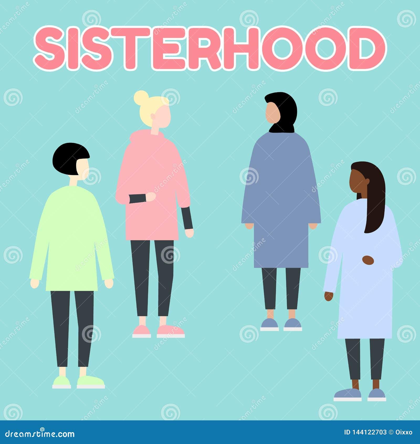 Sisterhood Mulheres multi-?tnicos da ra?a do diverce Igualdade de g?nero feminismo Grupo de retratos f?meas Ilustra??o edit?vel l