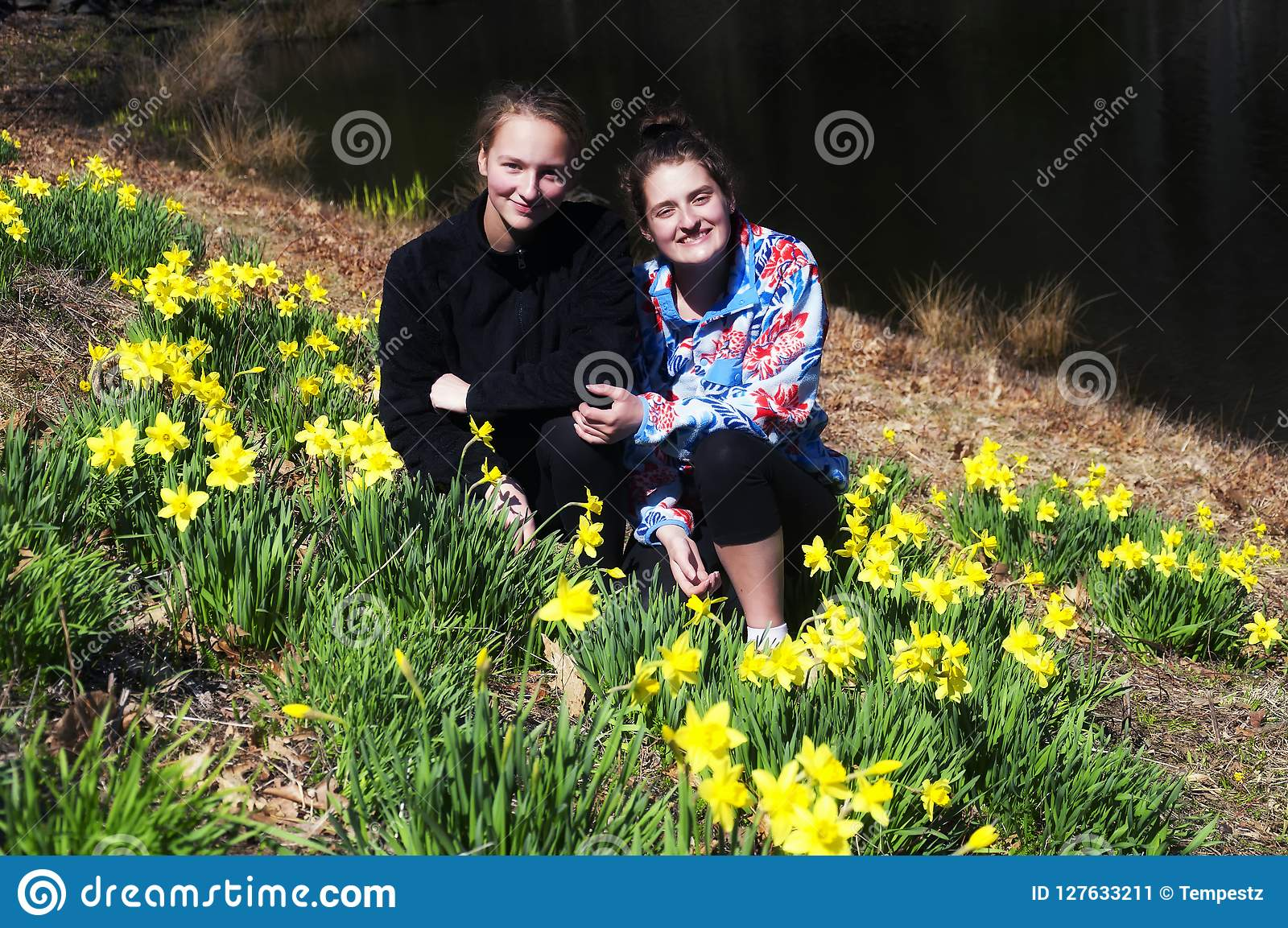 Sisters in a daffodil field in Thomaston Connecticut