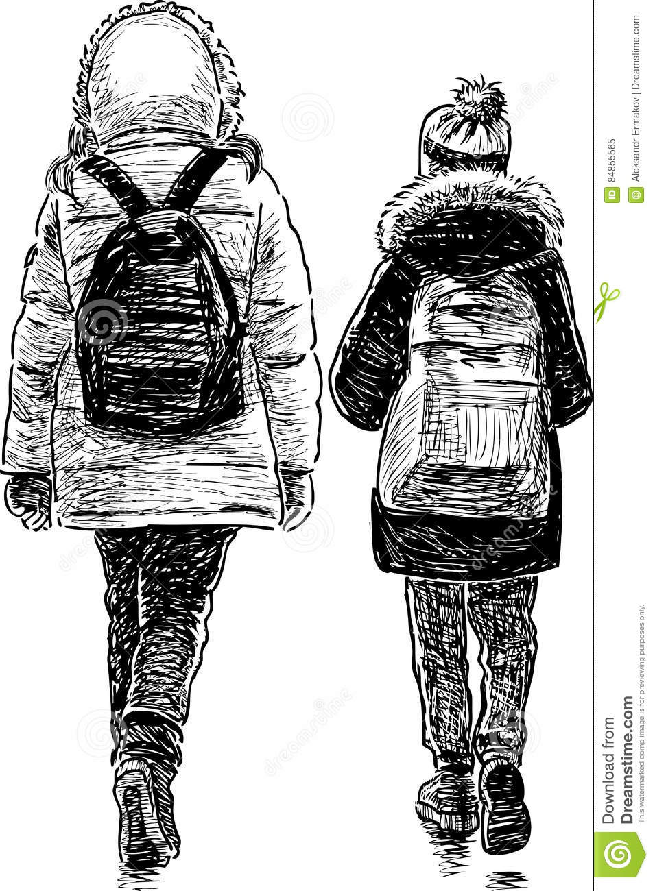 Sisters Go Home From A School Stock Vector