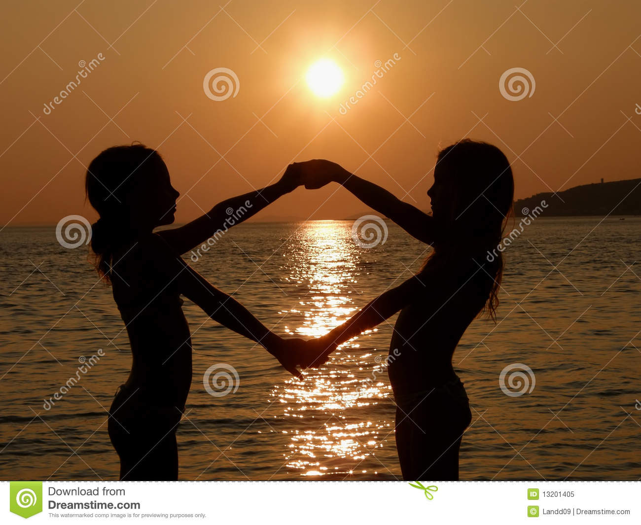 sisters in summer sunset royalty free stock photo image