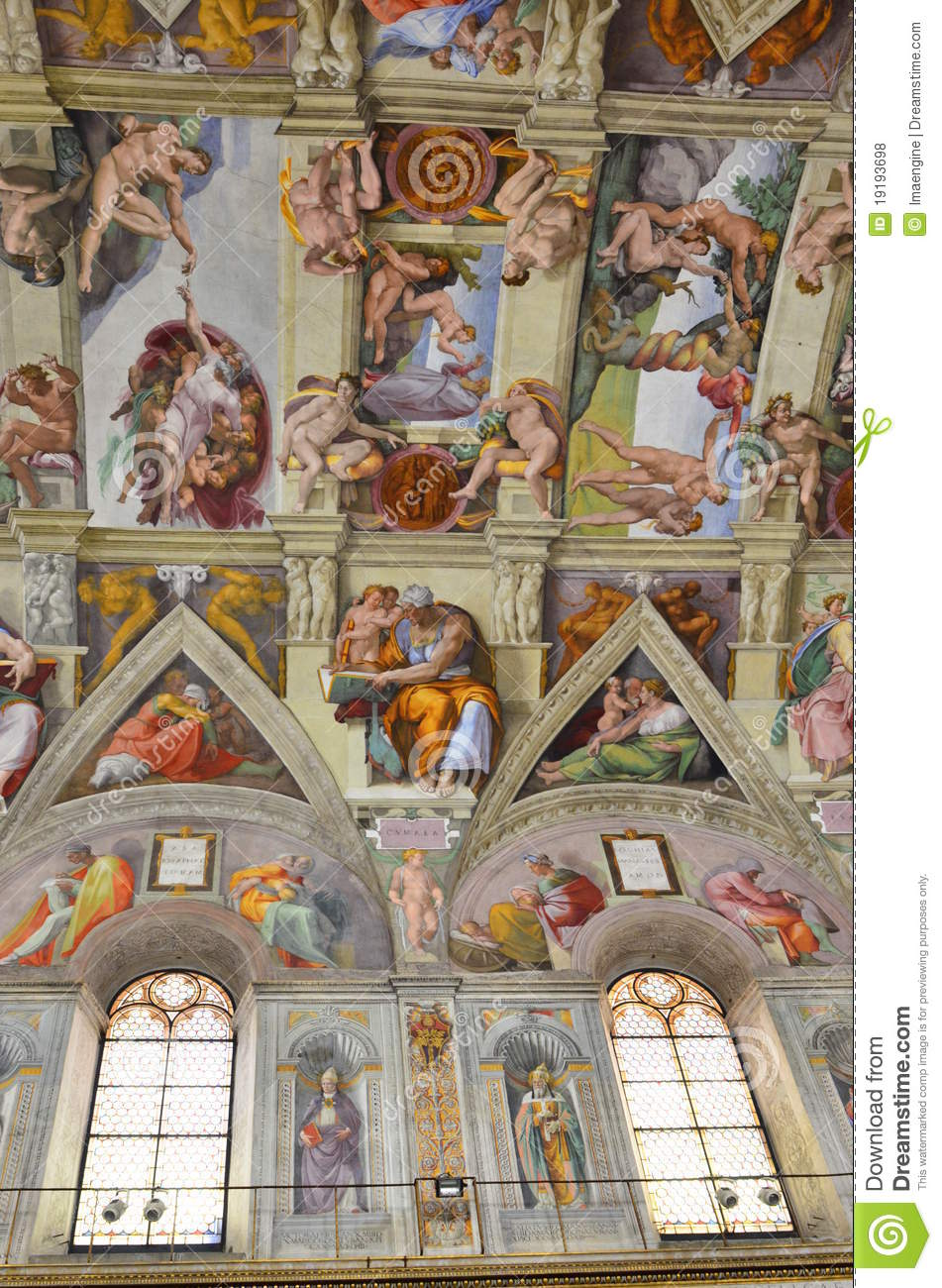 Sistine Chapel Ceiling Paintings Editorial Stock Photo - Image of ...
