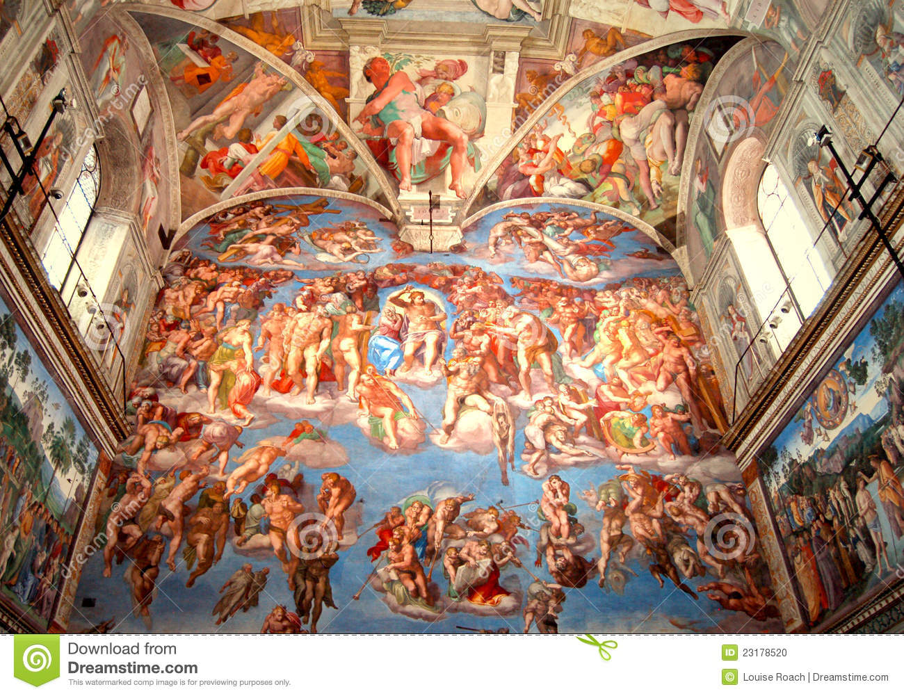 Sistine Chapel, The Last Judgment Stock Photo - Image ...