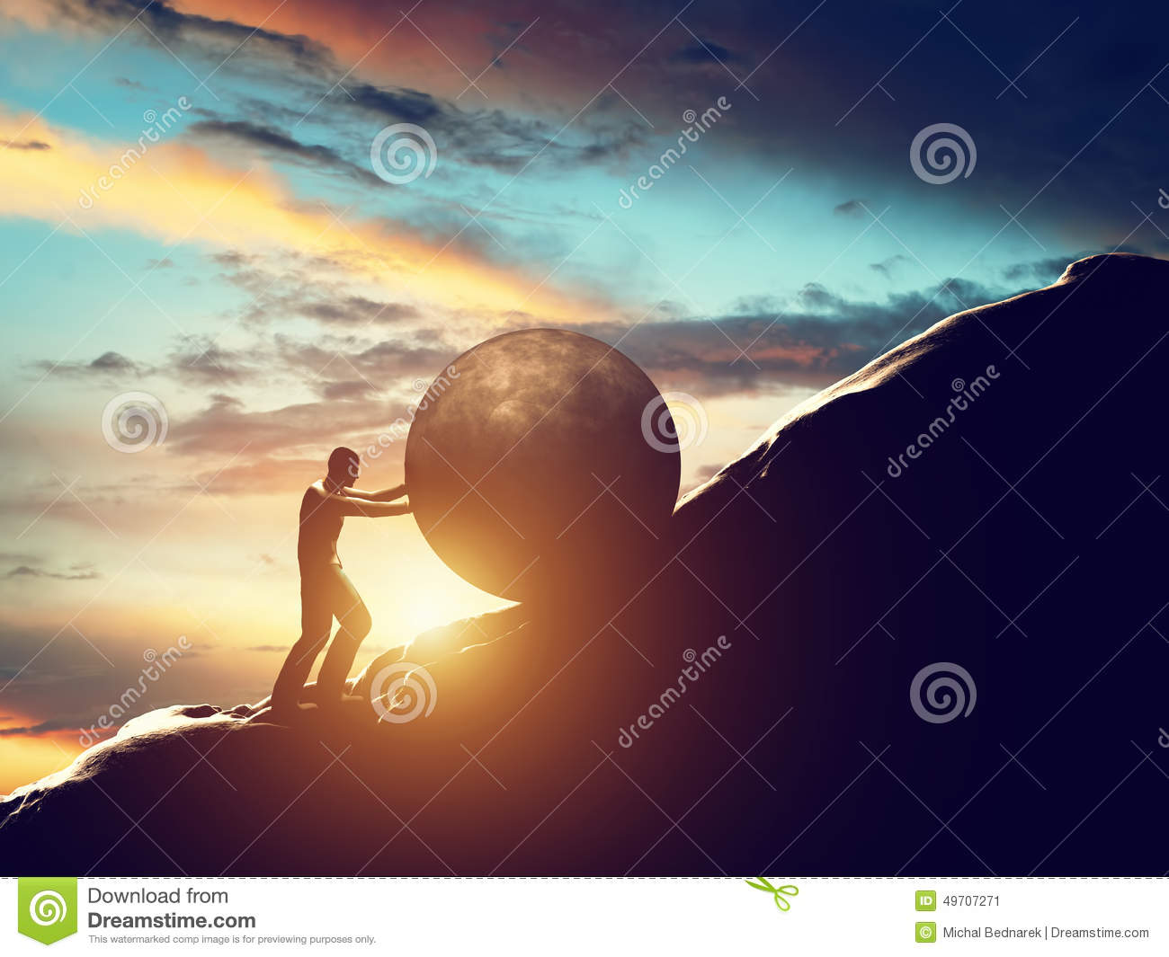 Sisyphus metaphor. Man rolling huge concrete ball up hill.