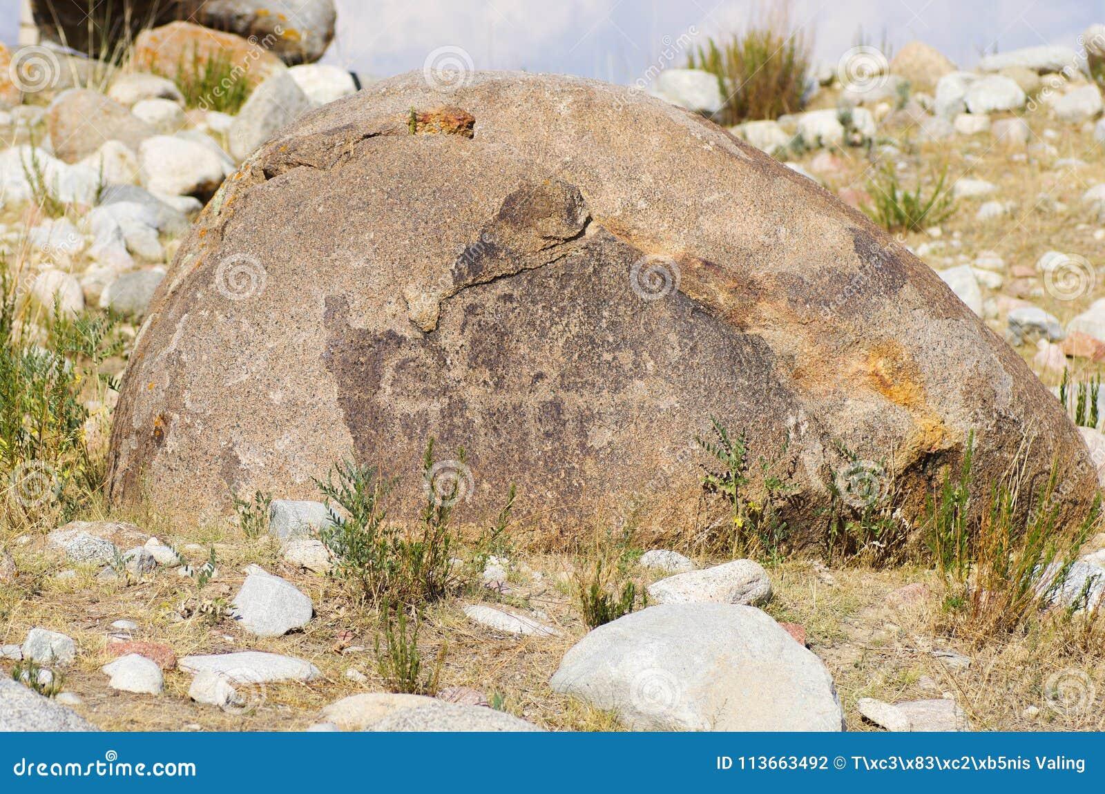 Site antique avec les pétroglyphes historiques au Kirghizistan