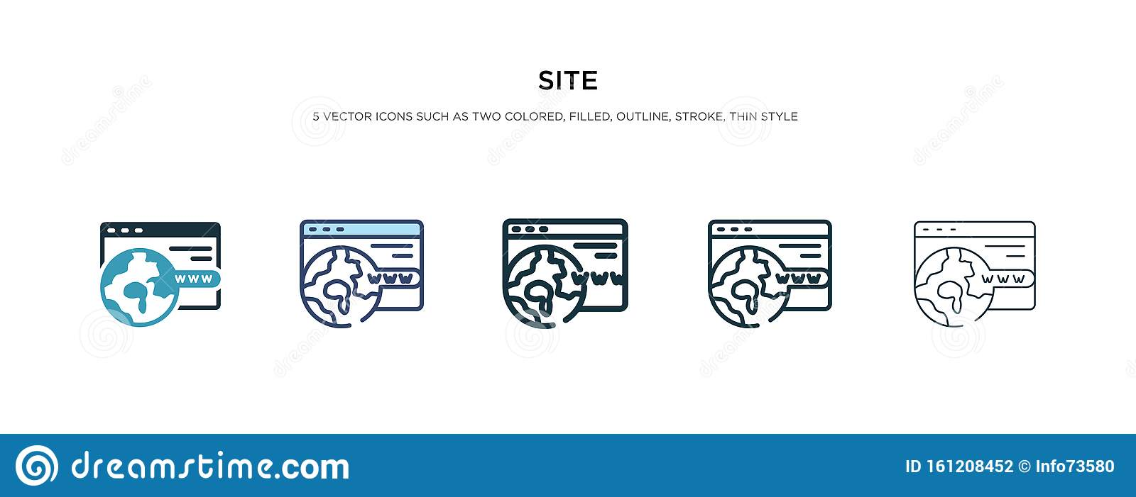 Site icon in different style vector illustration. two colored and black site vector icons designed in filled, outline, line and