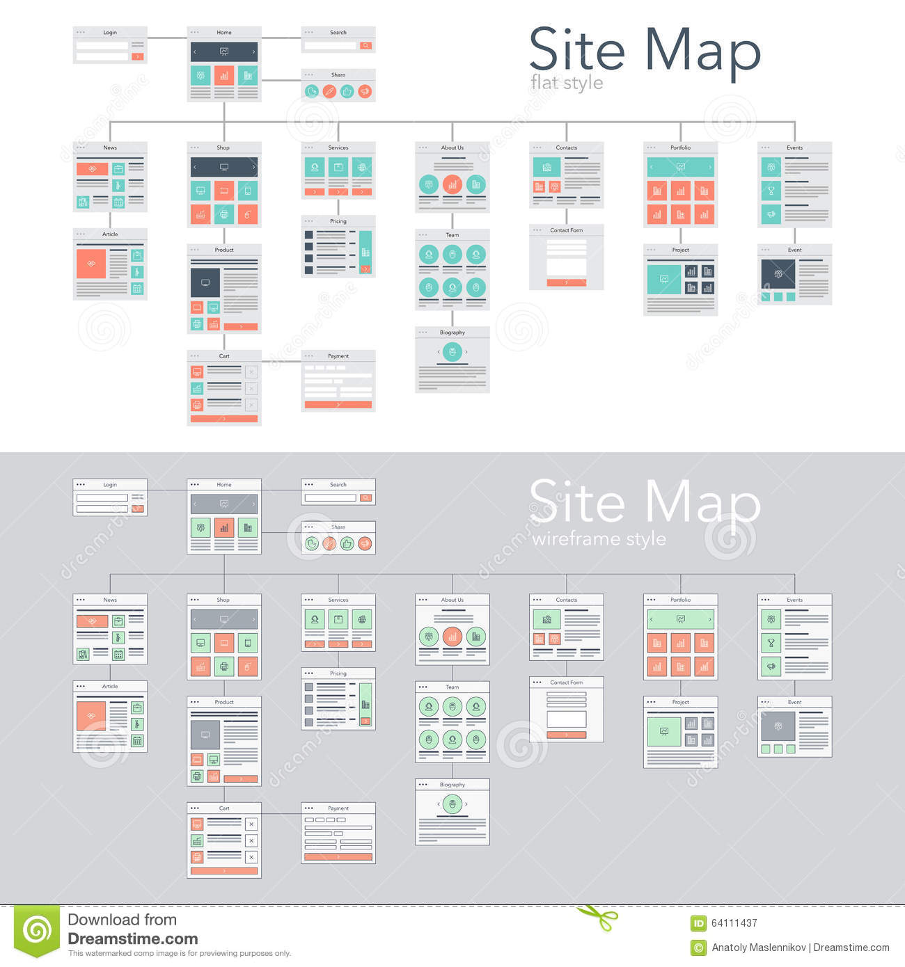 Sitemap: Site Map Stock Vector. Illustration Of Flowchart, Presentation