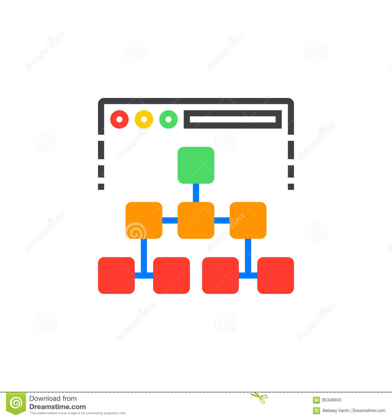 Site map icon vector, filled flat sign, solid colorful pictogram