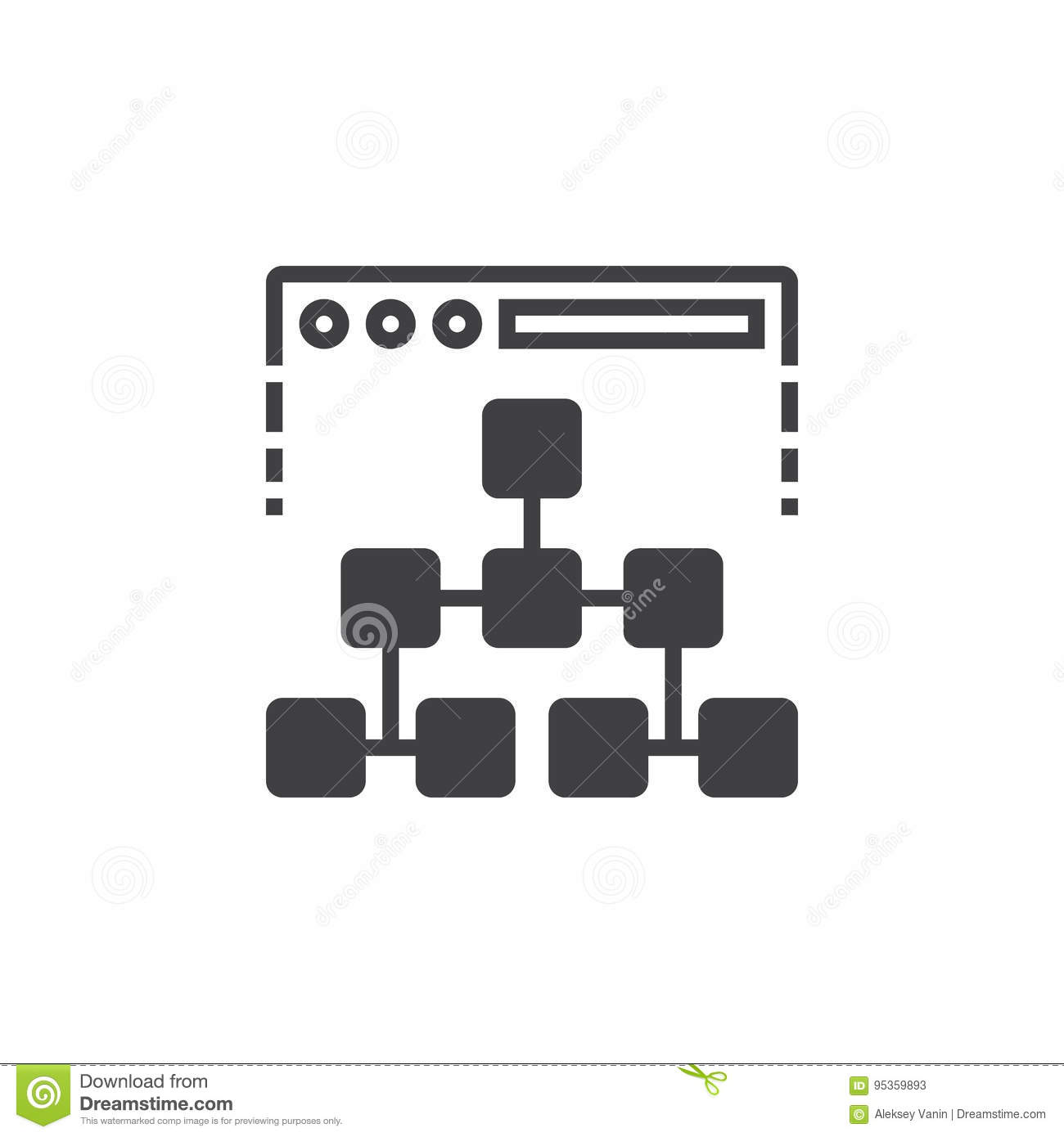 Site map icon vector, filled flat sign, solid pictogram isolated