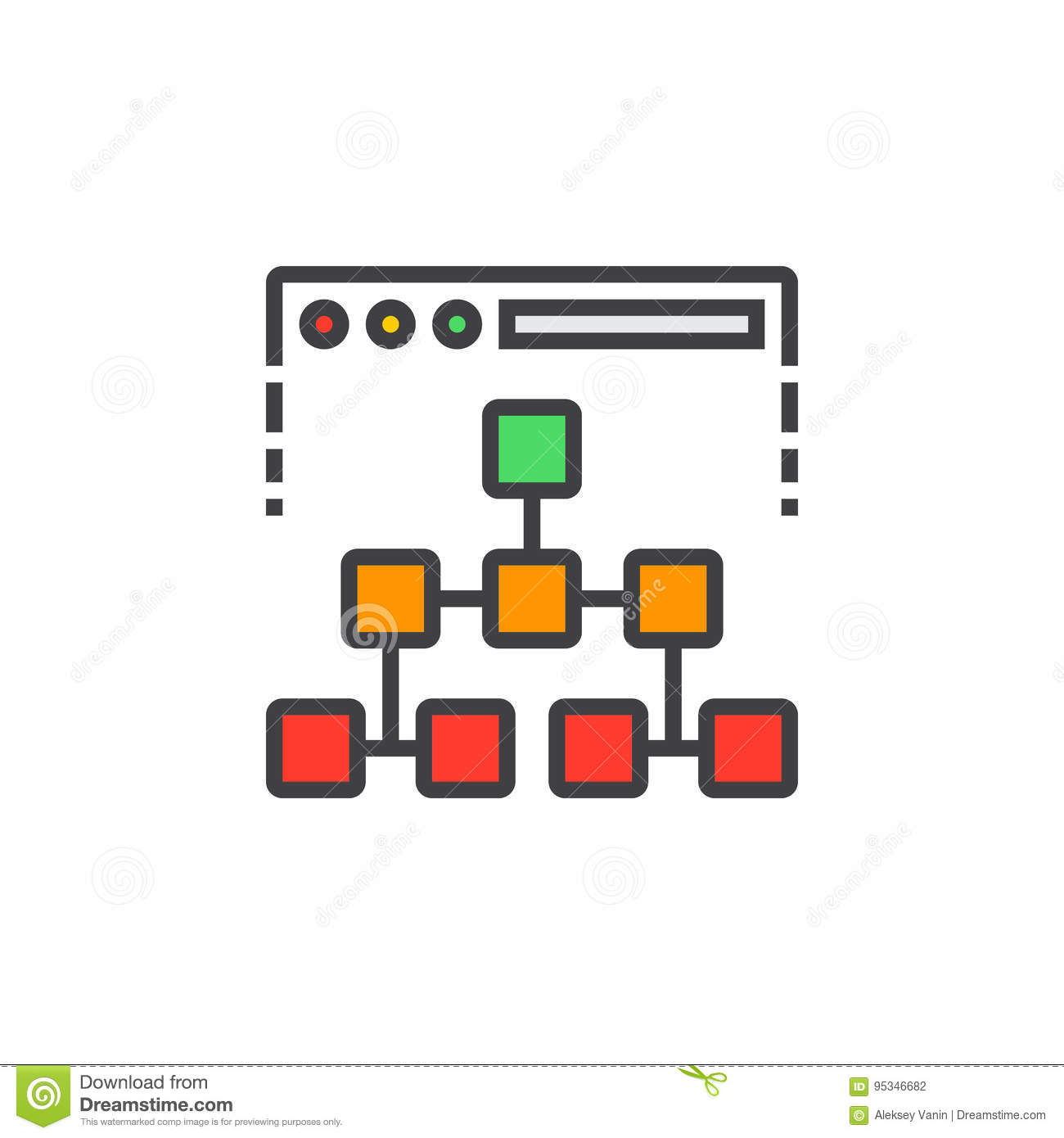 Site map line icon, filled outline vector sign, linear colorful