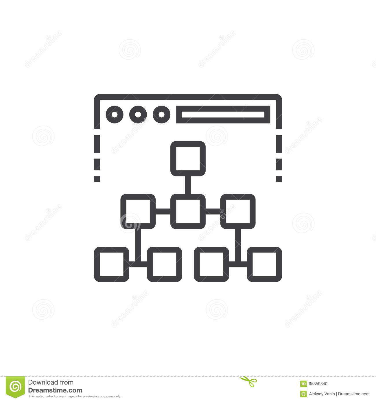 Site map line icon, outline vector sign, linear pictogram isolated on white. logo illustration