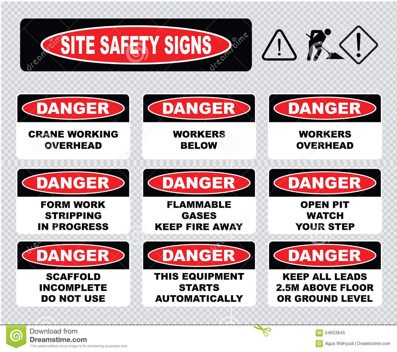 Workplace Site Safety Signs Royalty Free Cartoon