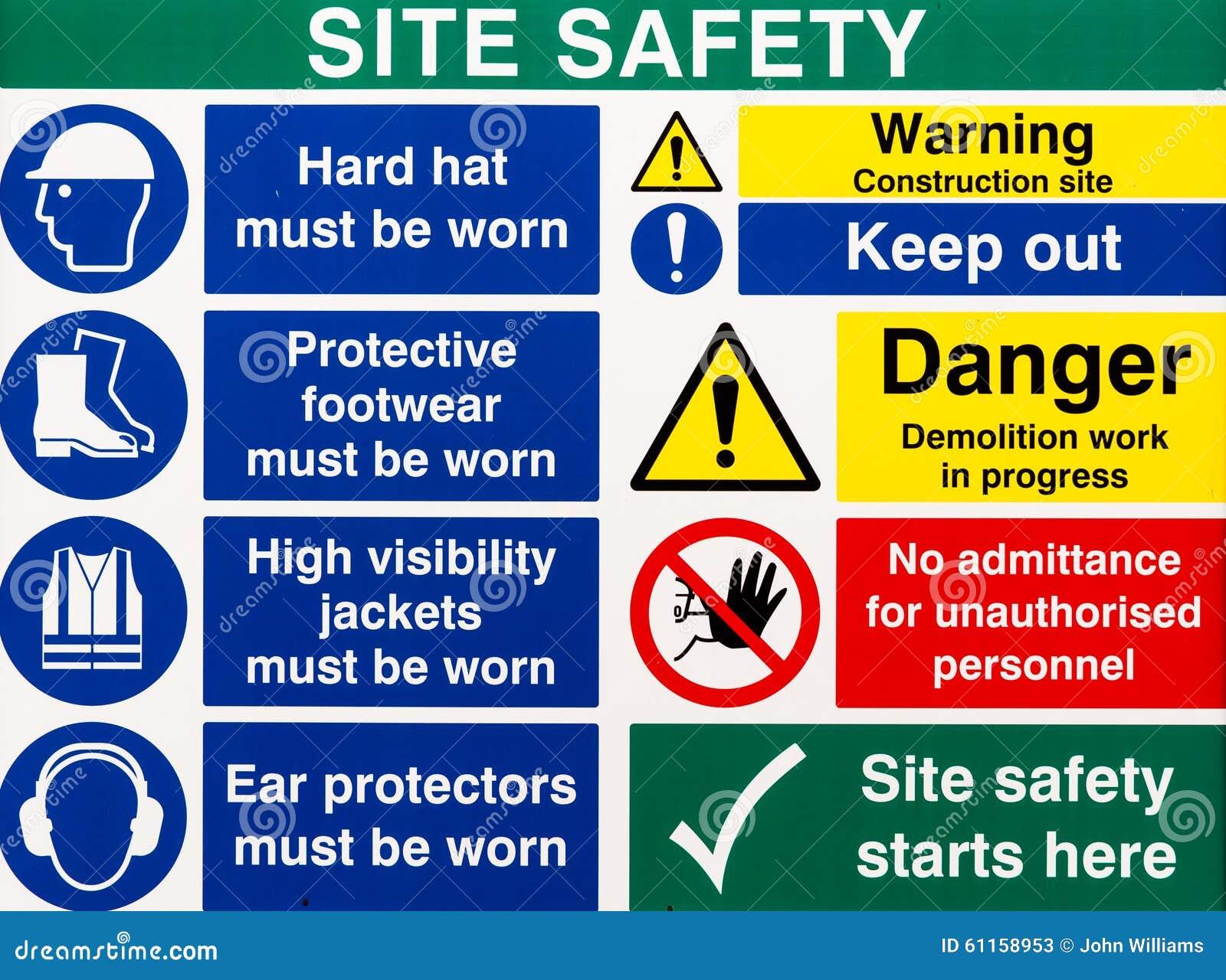 site saftey warning signs stock image image of hazard 61158953
