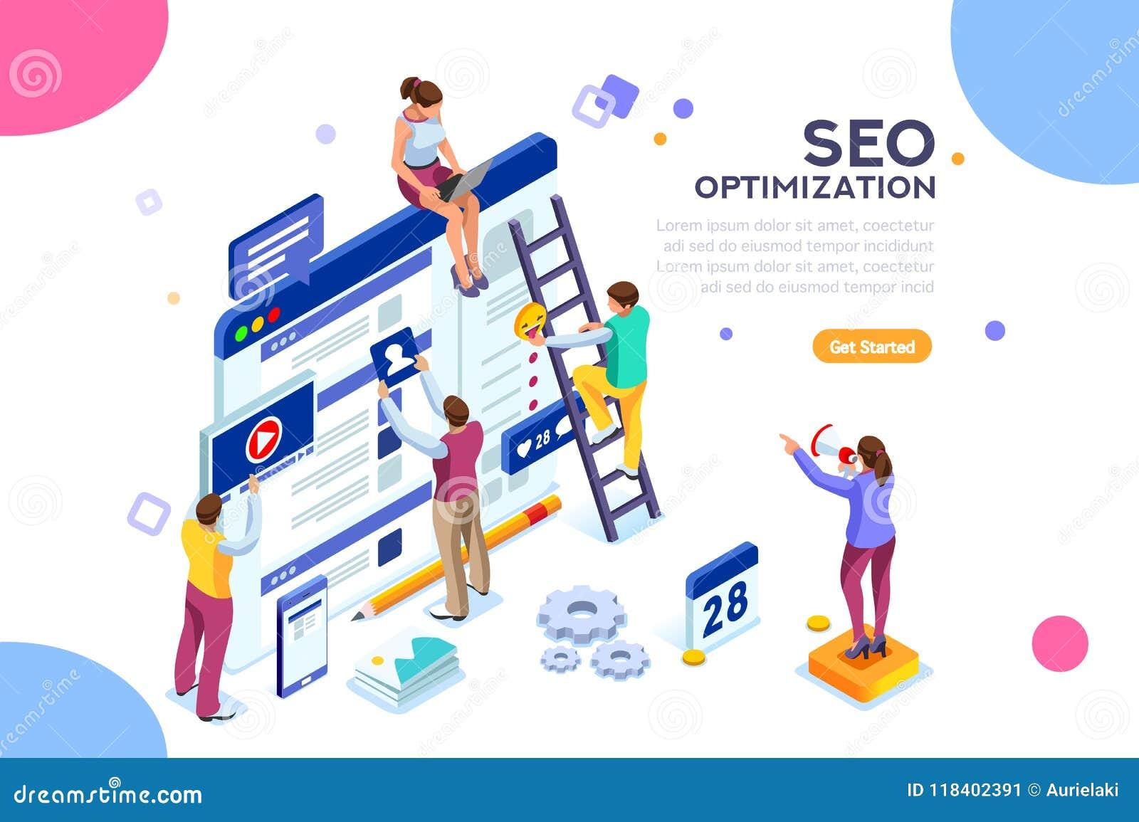 Site Web conceptuel de page d atterrissage d illustration de seo de Web