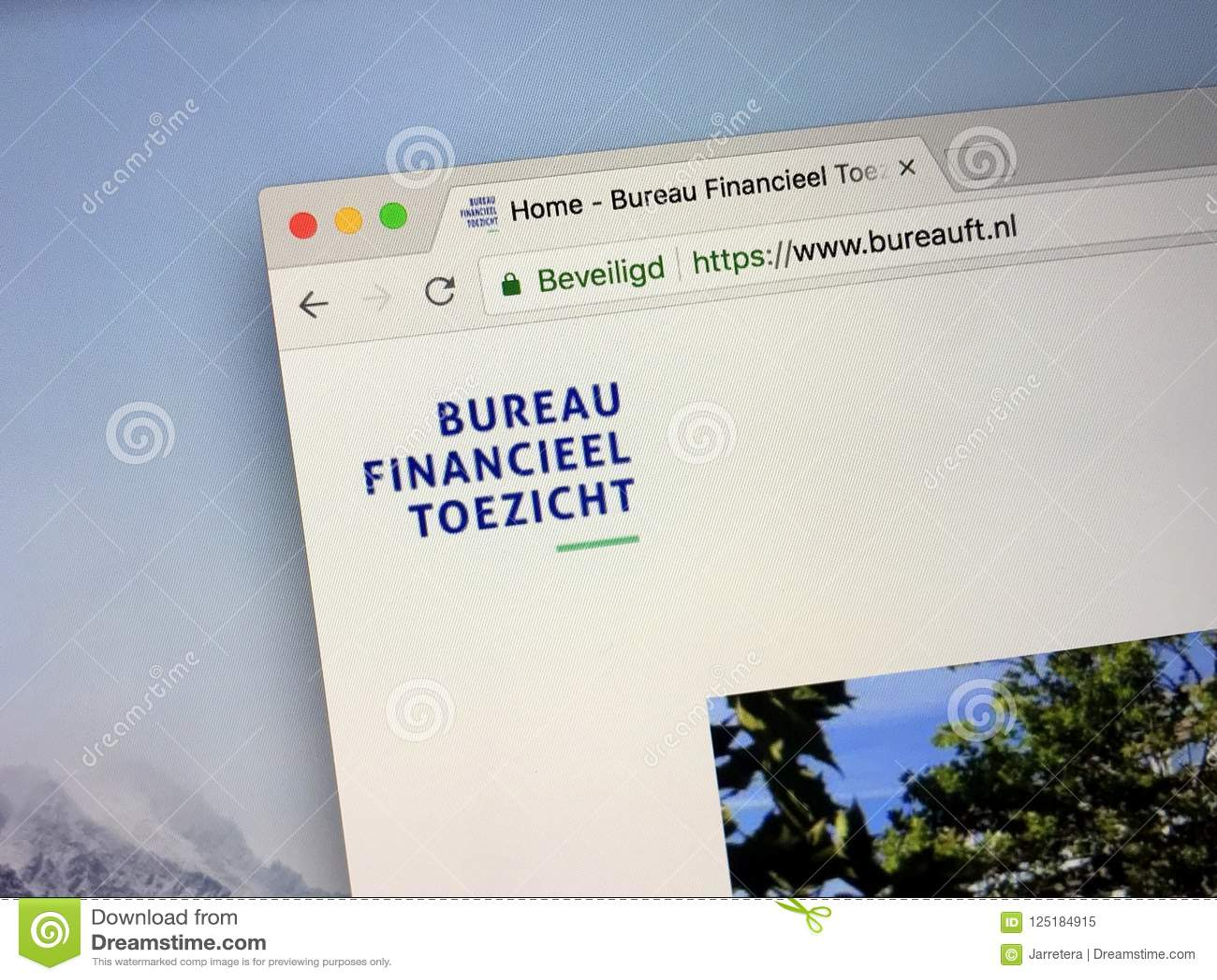Site web du bureau financier néerlandais de surveillance image