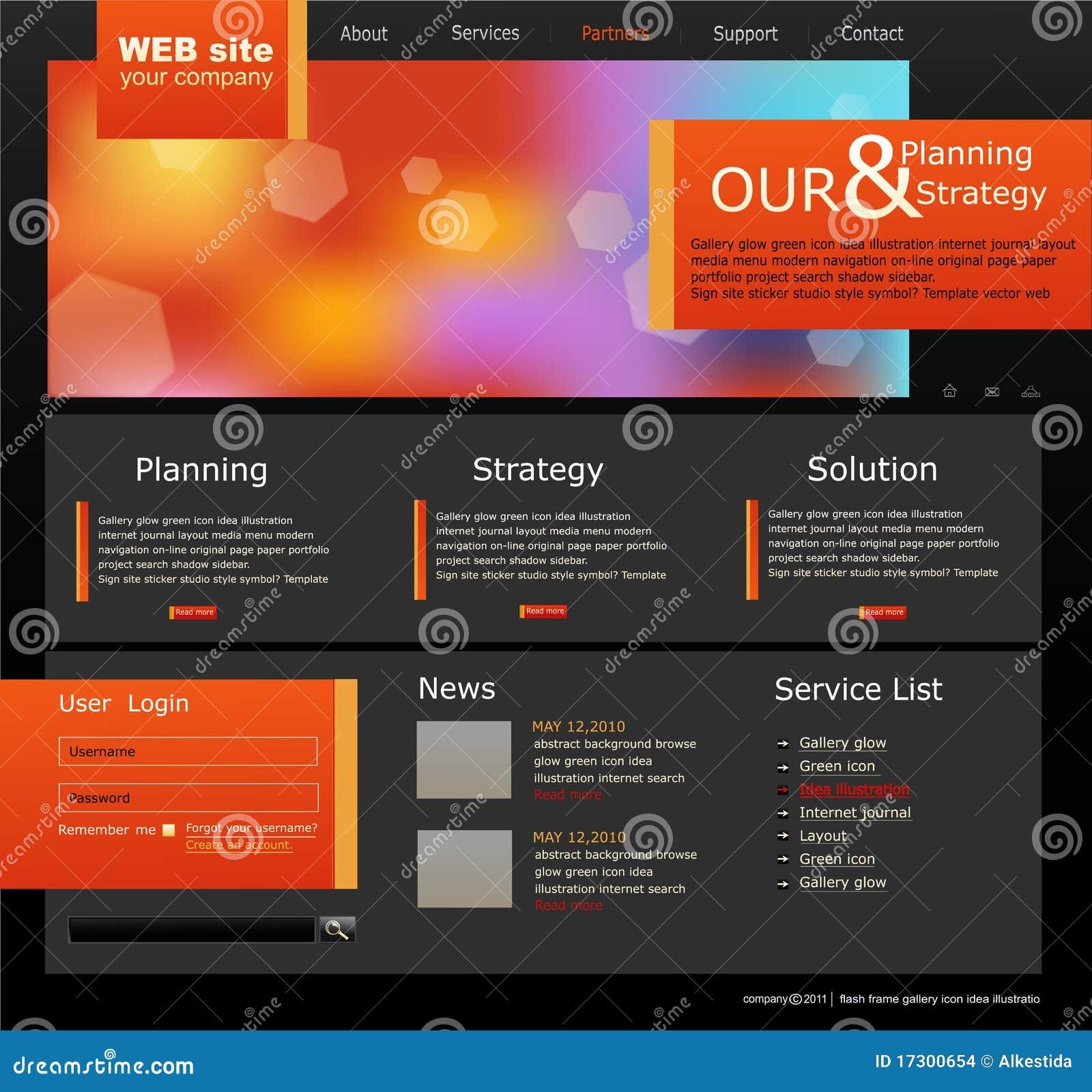Site web noir et orange de vecteur pour des affaires for Idee pour site web