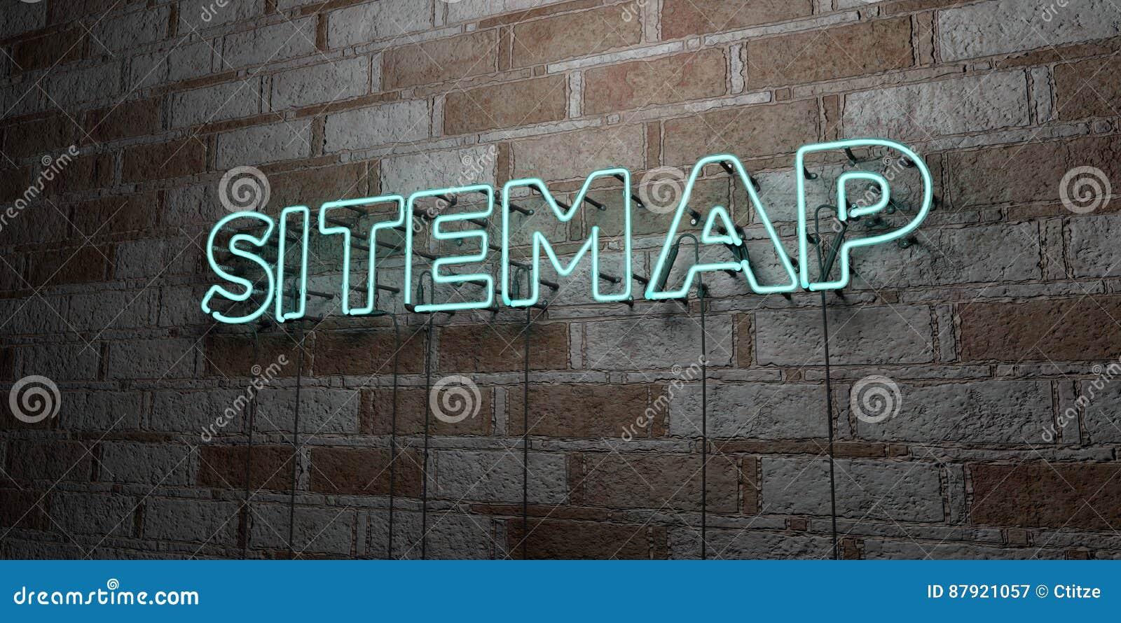 SITEMAP -在石制品墙壁上的发光的霓虹灯广告- 3D回报了皇族自由储蓄例证
