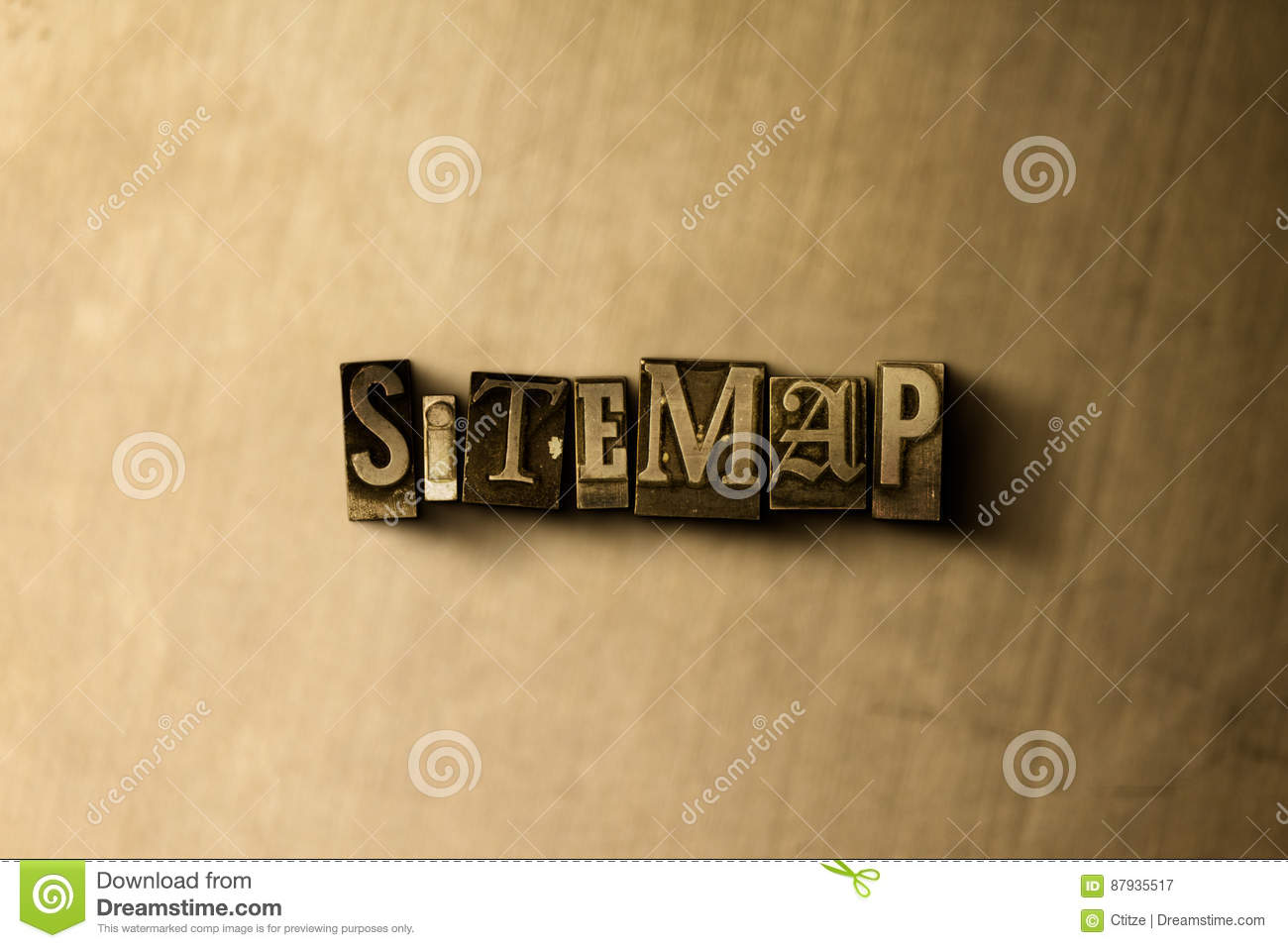 SITEMAP - close-up of grungy vintage typeset word on metal backdrop