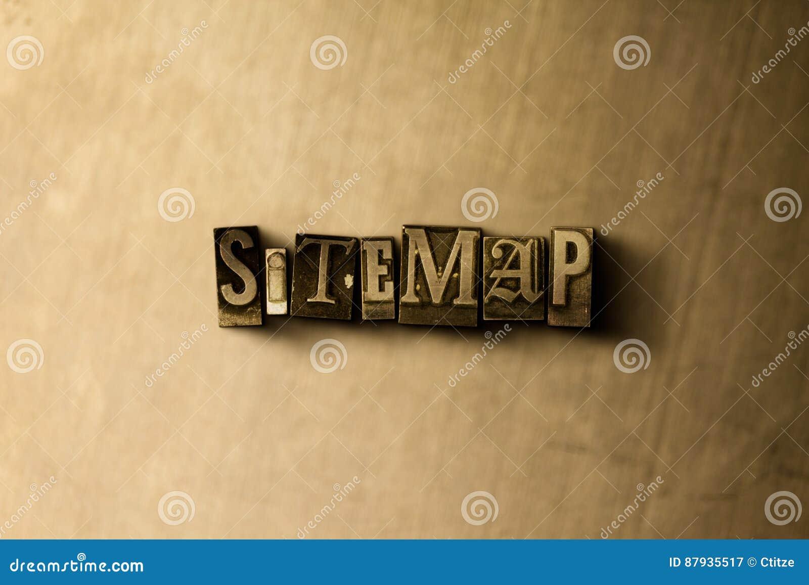 SITEMAP - close-up vintage sujo da palavra typeset no contexto do metal