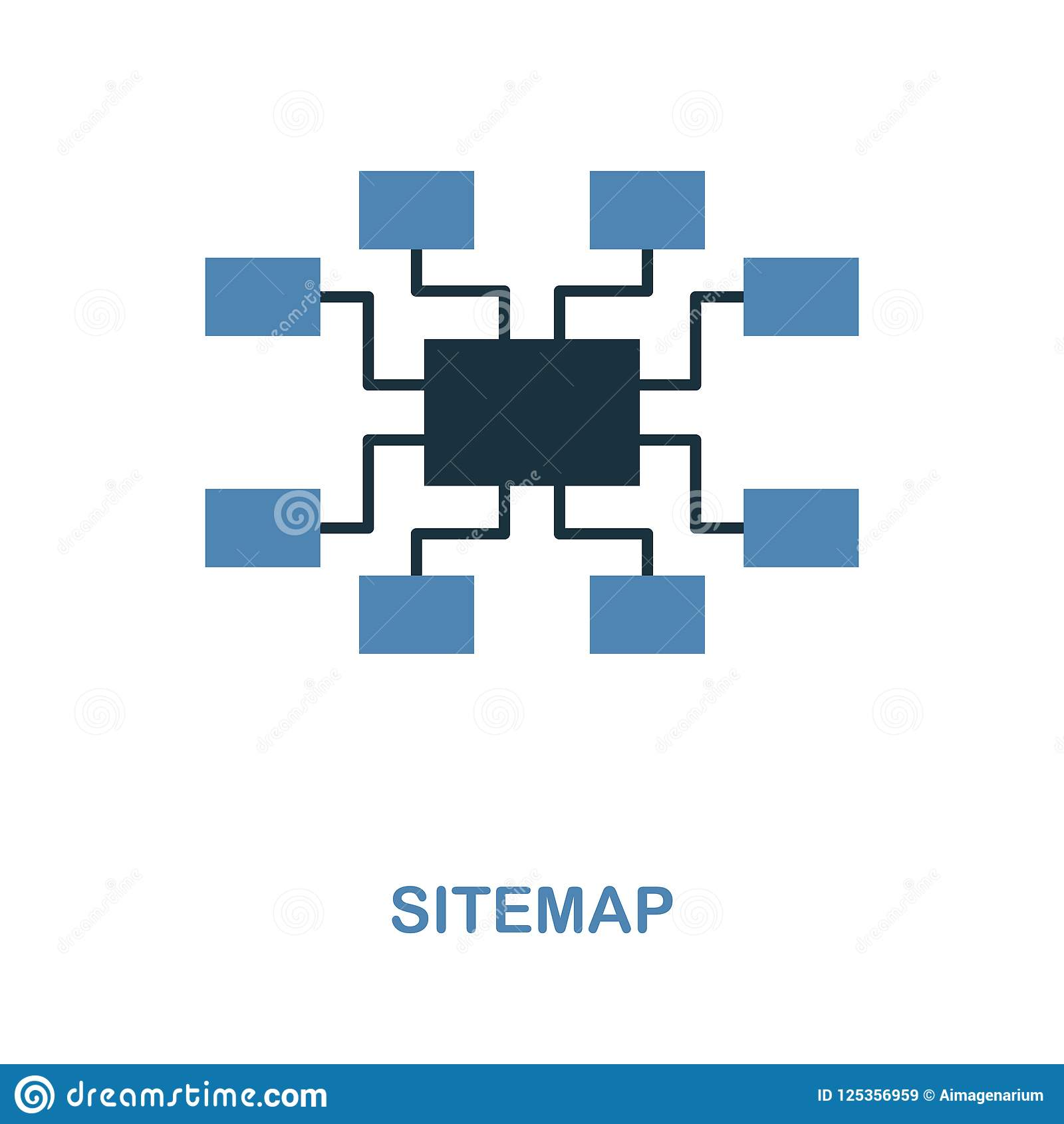Sitemap icon. Simple element illustration in 2 colors design. Sitemap icon sign from seo collection. Perfect for web design, apps,