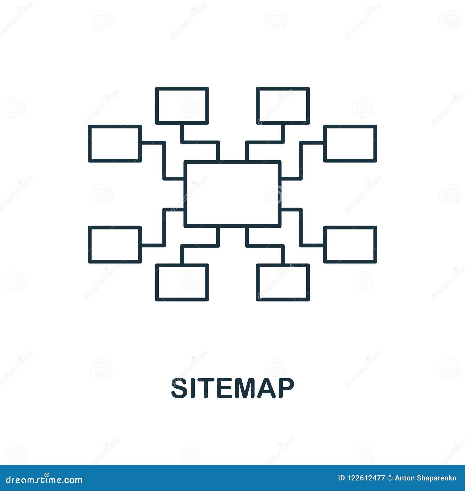 Sitemap idérik symbol Enkel beståndsdelillustration Design för Sitemap begreppssymbol från seosamling Göra perfekt för rengörings