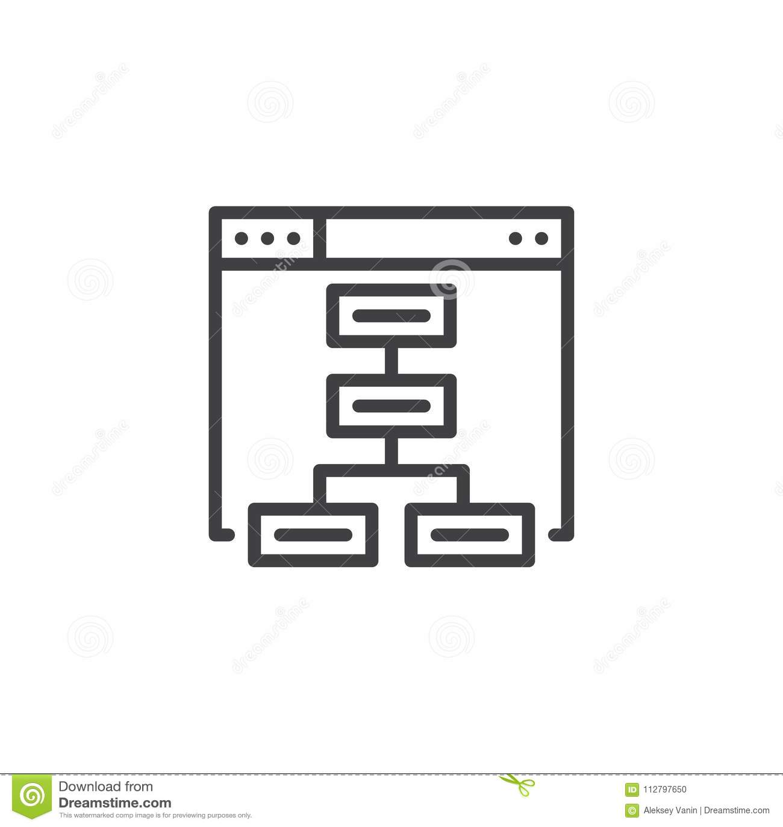 Sitemap konturu ikona