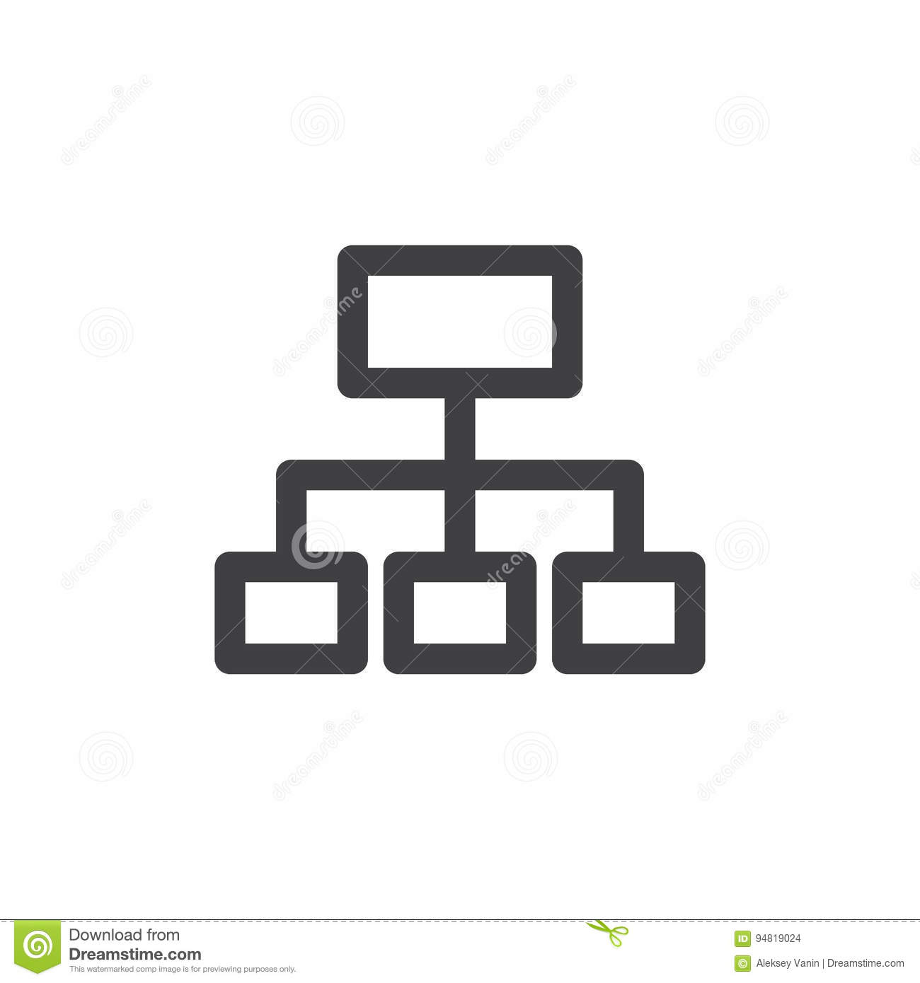 Sitemap line icon, outline vector sign, linear style pictogram isolated on white.