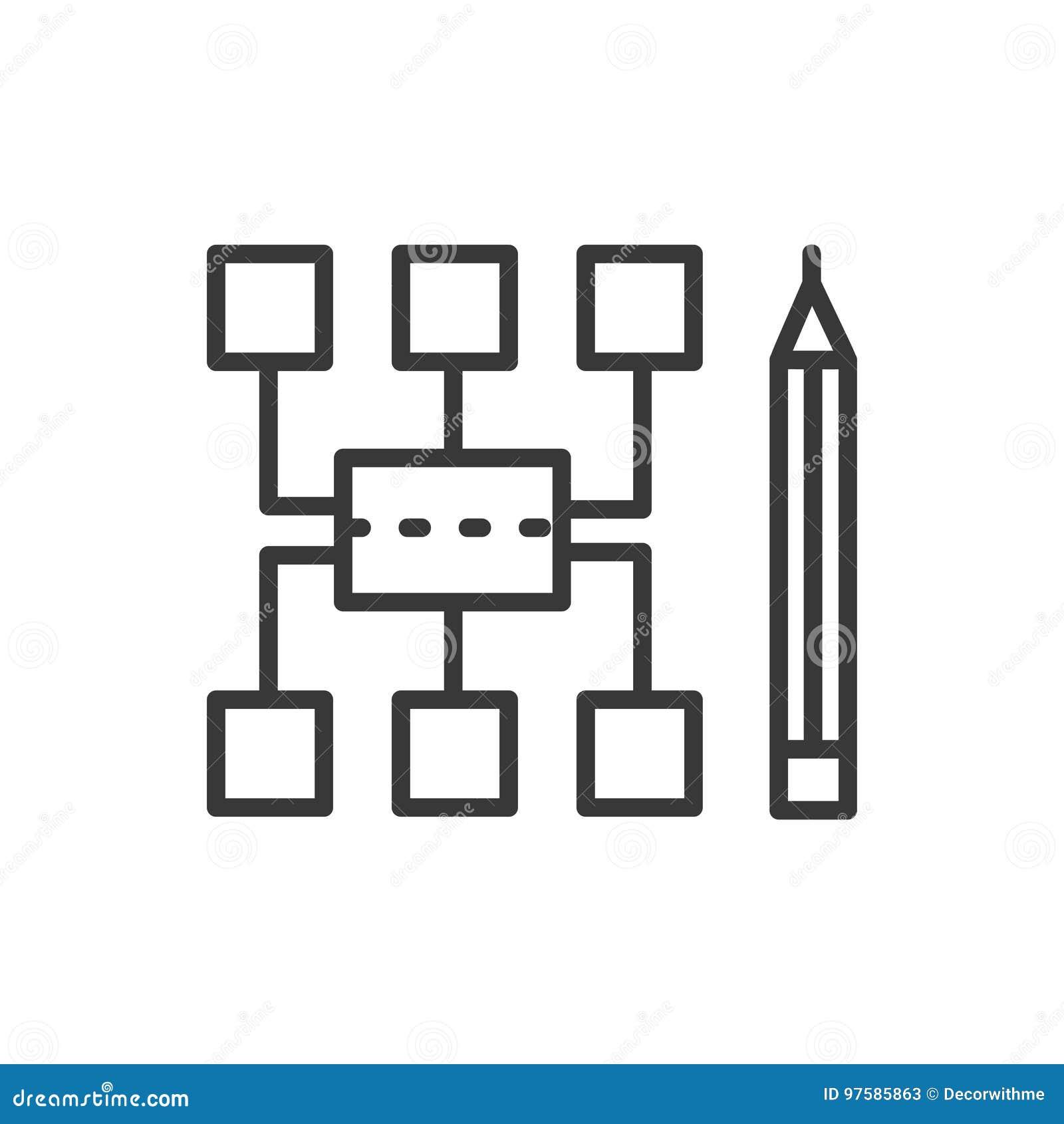 Sitemap - linha moderna ícone do vetor do projeto