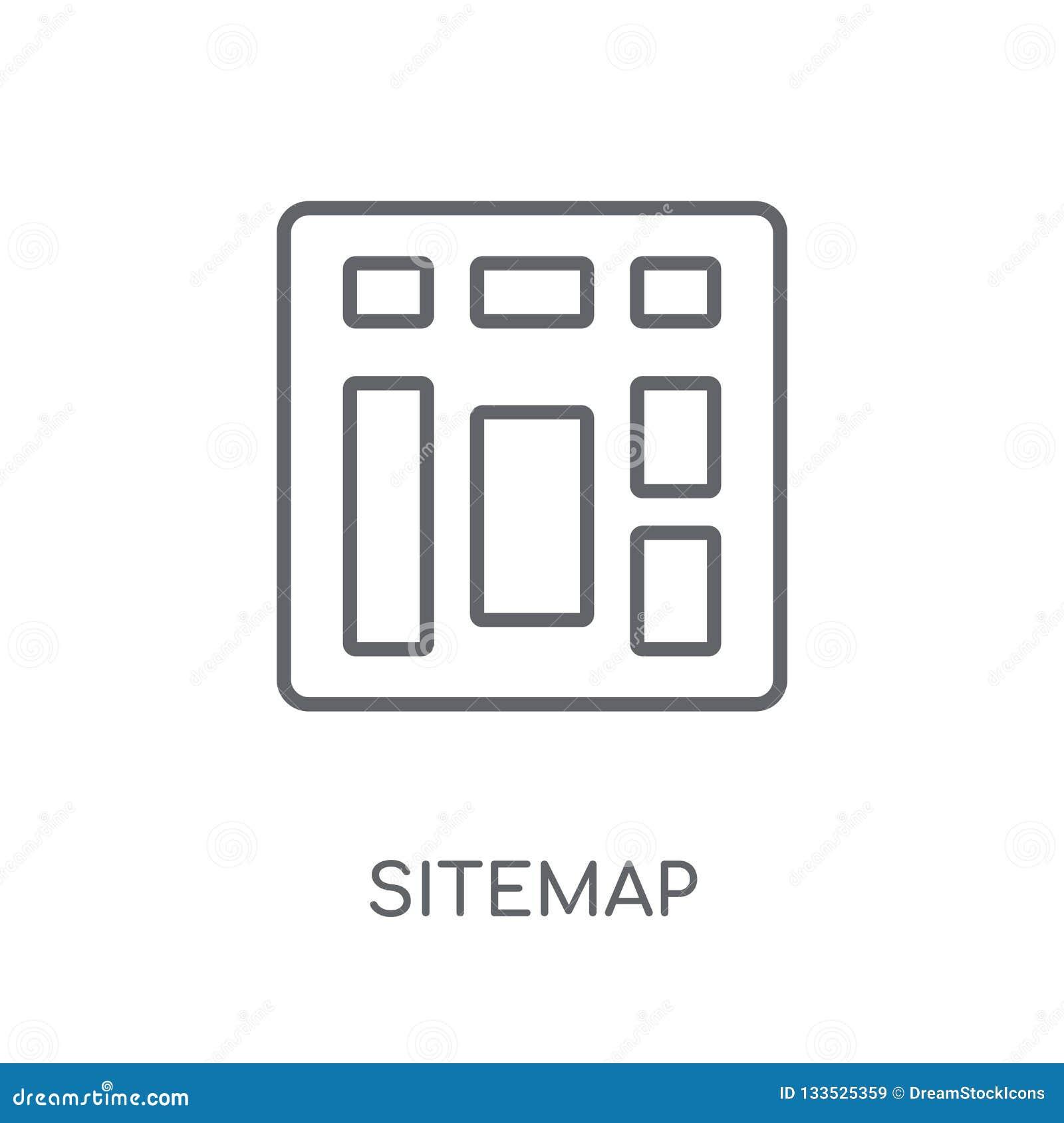 Sitemap linjär symbol Modernt begrepp för översiktsSitemap logo på whit
