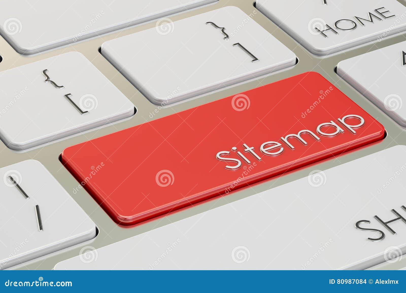 Sitemap röd tangent på tangentbordet framförande 3d