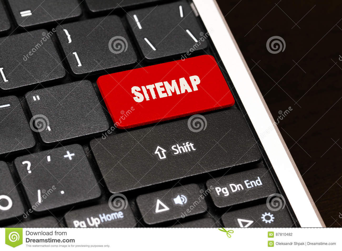 Sitemap on Red Enter Button on black keyboard