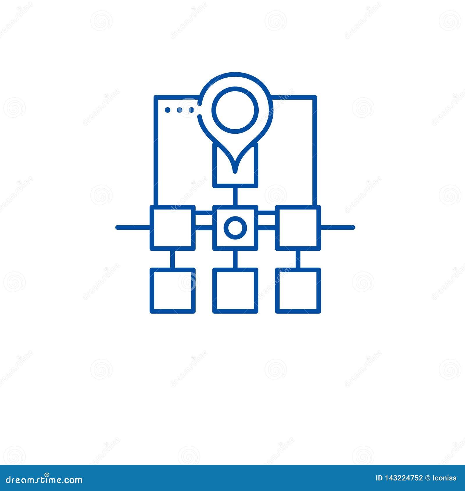 Sitemap sieci struktury linii ikony pojęcie Sitemap sieci struktury płaski wektorowy symbol, znak, kontur ilustracja
