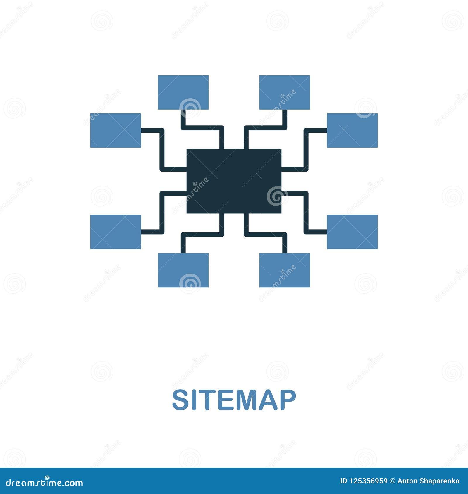Sitemap symbol Den enkla beståndsdelillustrationen i 2 färger planlägger Sitemap symbolstecken från seosamling Göra perfekt för r