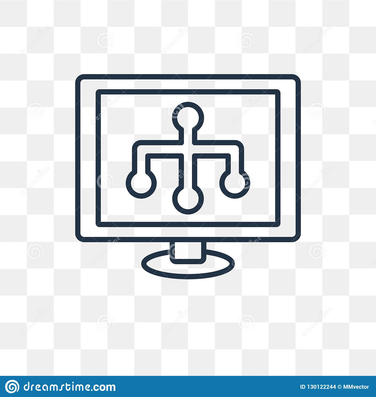 Sitemap vector icon isolated on transparent background, linear S