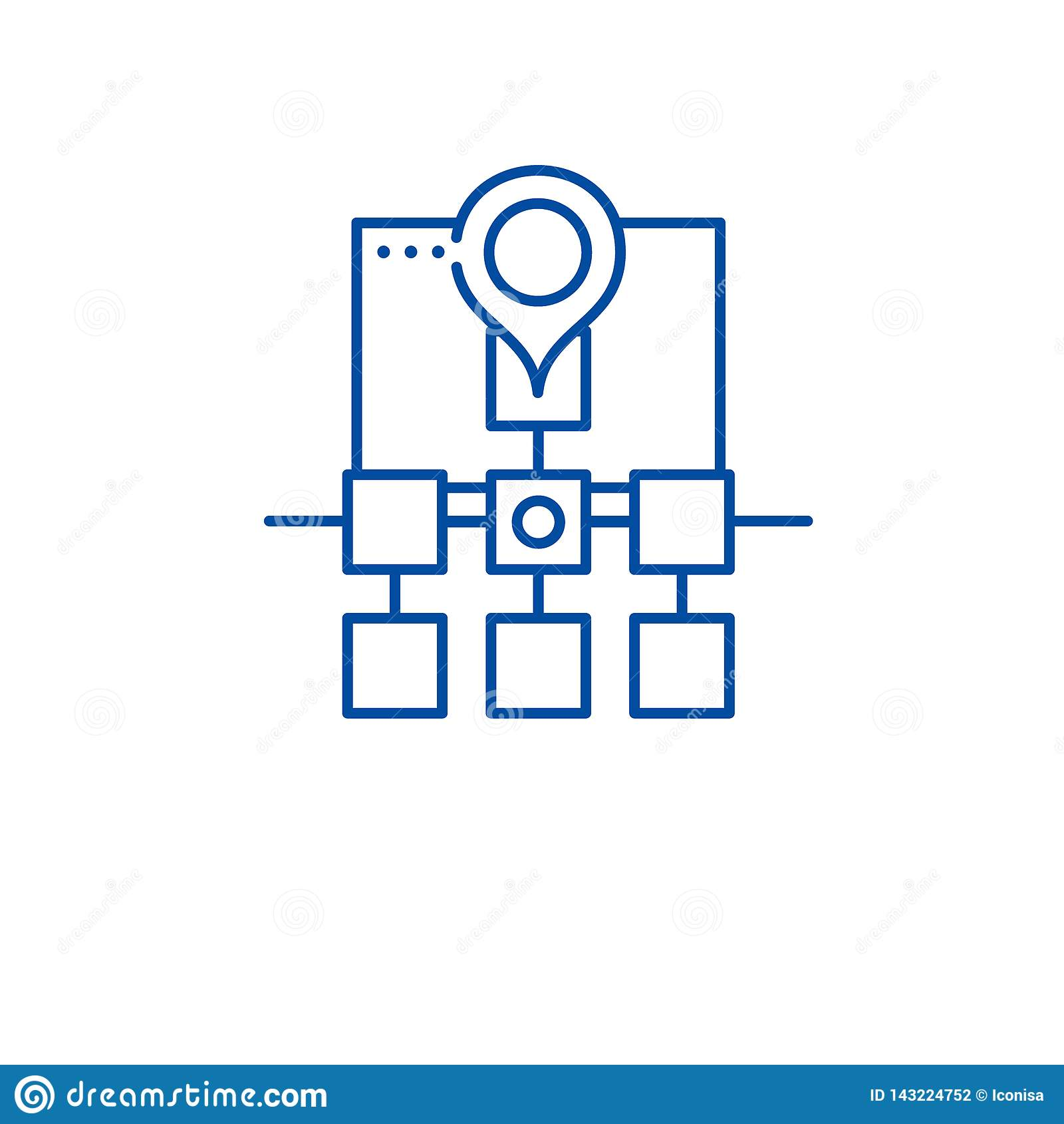 Sitemap web structure line icon concept. Sitemap web structure flat vector symbol, sign, outline illustration.