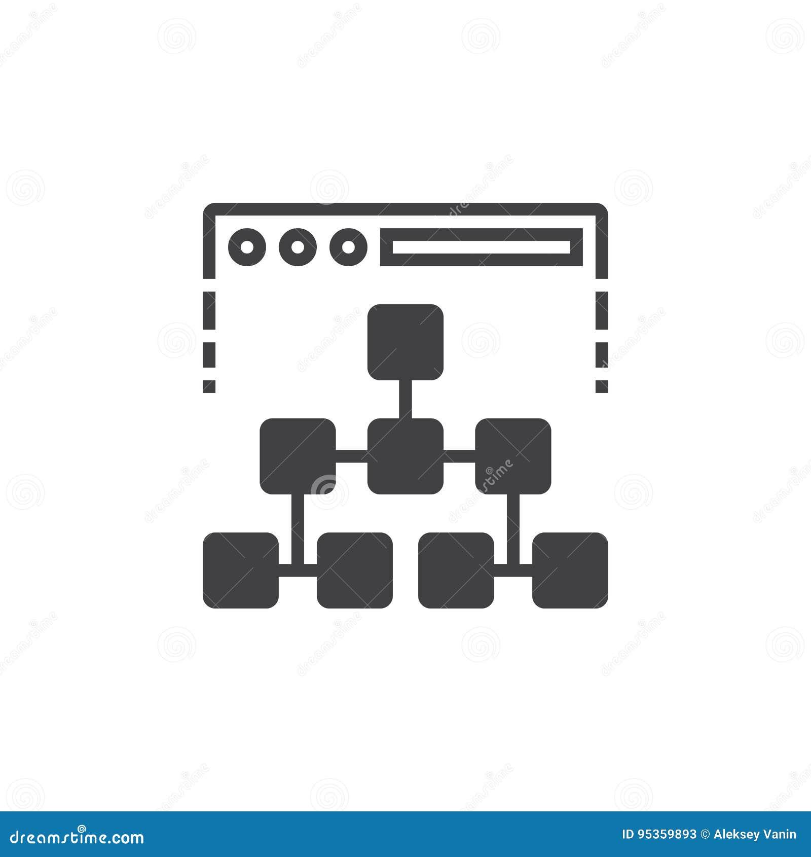 Sitemapikonenvektor, gefülltes flaches Zeichen, festes Piktogramm lokalisiert