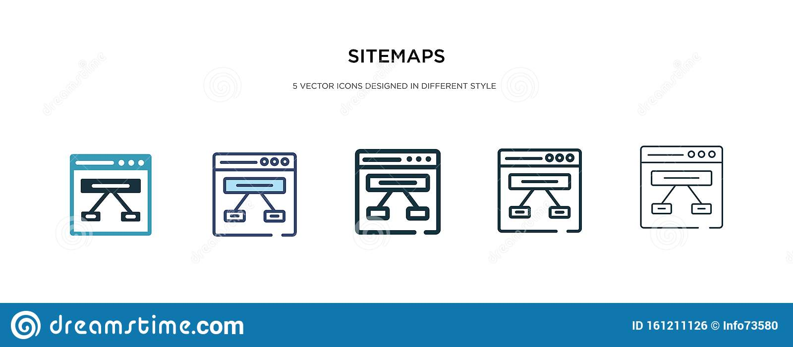 Sitemaps icon in different style vector illustration. two colored and black sitemaps vector icons designed in filled, outline,